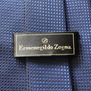 Ermenegildo Zegna Blue Geometric Silk Tie